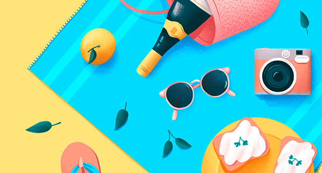 Bright colors in flat illustration