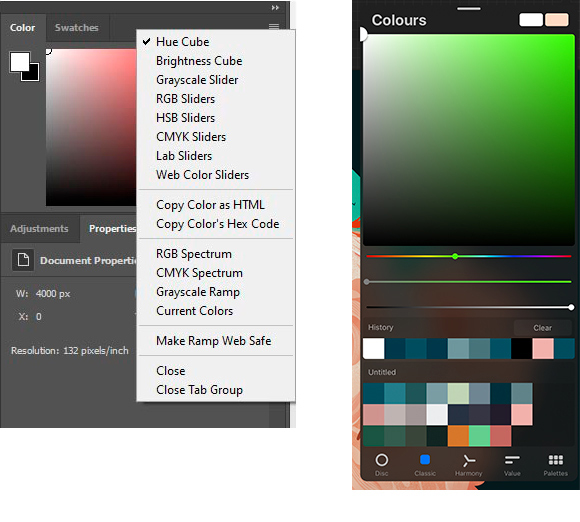 Color palettes in Photoshop VS Procreate